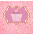 Label with cupcake on pink with polka dots eps 8 vector