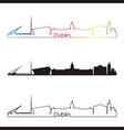 Dublin skyline linear style with rainbow vector