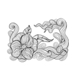Black and white outline drawing floral doodle vector