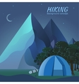 Flat colorful night tourism camping set vector