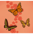 Butterfly near the flowers vector