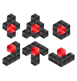 3d cube logo icon design set vector