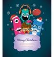 Monster merry christmas card design vector