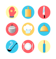 Kitchen utensils and kitchen flat icons vector
