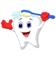 Happy tooth cartoon brushing vector