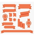 Red ribbons set elements isolated vector