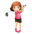 A young woman playing golf vector