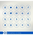 Banking blue icons on light background vector