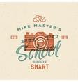 Photography school retro label or logo vector