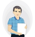 Businessman holding a blank poster vector