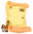 A treasure map and a smiling brown horse vector