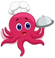 Octopus chef cartoon holding platters vector