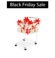 A shopping cart on black friday label vector