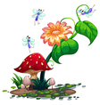 Plants surrounded with dragonflies vector
