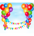 Background with colorful ballons and bunting flags vector