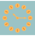 Dollar coins clock blue background vector