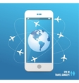 Airplanes flying around the globe phone concept vector