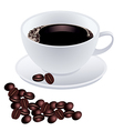 White cup of coffee with beans on white background vector