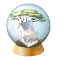 A crystal ball with a house vector