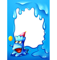A blue border design with a monster wearing a hat vector