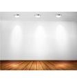 Wall with spotlights and wooden floor showroom vector
