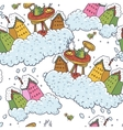 Seamless christmas background houses and tea party vector