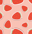 Strawberry pattern seamless texture with ripe red vector