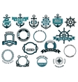 Set of nautical or marine themed icons and frames vector