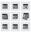 Black calendar icon set vector