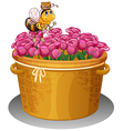 A bee with a pot of honey flying above the basket vector