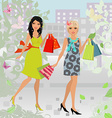 Fashion young women with purchase in city for your vector