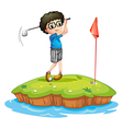 A young man playing golf vector