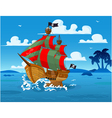 Pirate ship at sea vector