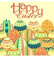 Easter background with colorful doodle eggs vector