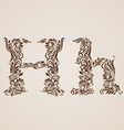 Decorated letter h vector