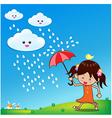 Little girl in rain day 001 vector