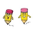 Two happy pencils drawing squiggly lines vector