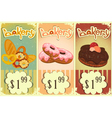Bakery price tags vintage vector