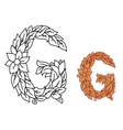 Floral alphabet letter g with leaves vector