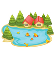 Duckling in a pond vector