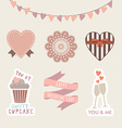 Valentines day hand drawn set vintage style design vector