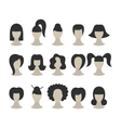 Set of black hairstyles for woman isolated on whit vector