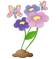 Blooming flowers with two butterflies vector