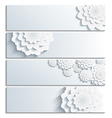 Set of banner with decorative 3d chrysanthemum vector