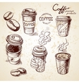 Hand drawn doodle sketch vintage paper cup of vector
