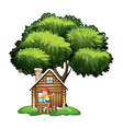 A boy playing outside the small house under the vector