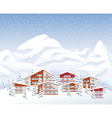 Mountain ski resort in winter vector