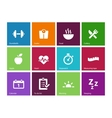 Fitness icons on color background vector