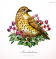 Watercolor painting cute bird on flowers i vector