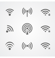 Black wi-fi icons isolated on white background vector